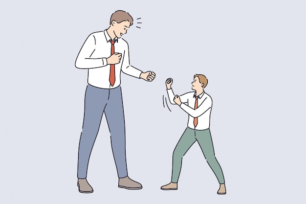 Business rivalry and contest concept. big and little businessmen standing towards each other fighting defending and beating vector illustration