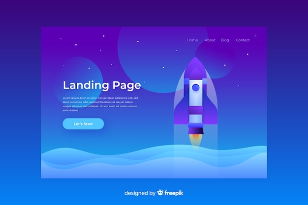 Business rocket landing page template
