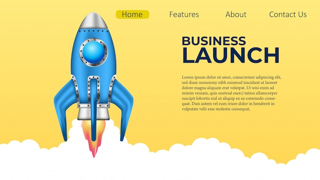 Business rocket launch project landing page