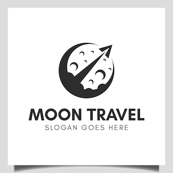 Business rocket moon launch vector design for science astronomy, astronaut, travel agency logo template