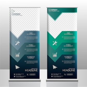 Business roll up banner abstract vector template