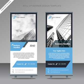 Business roll up banner design template flat clean parallelogram, organized layer