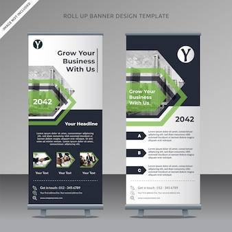 Business roll up banner design template geometric arrow, organized layer
