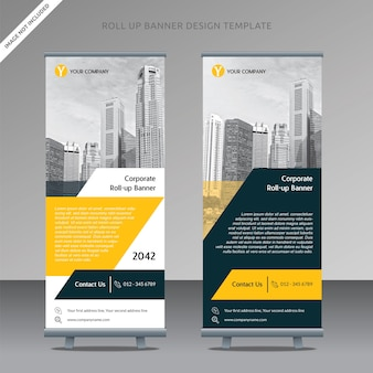 Business roll up banner design template trapezoid organized layer