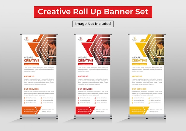 Business roll up banner set, corporate standee banner template