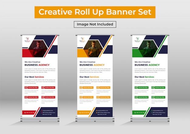 Business roll up banner set, modern standee banner template