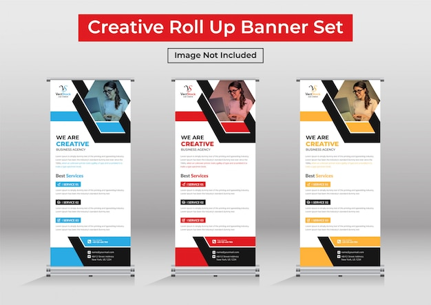 Business roll up banner set, standee banner template