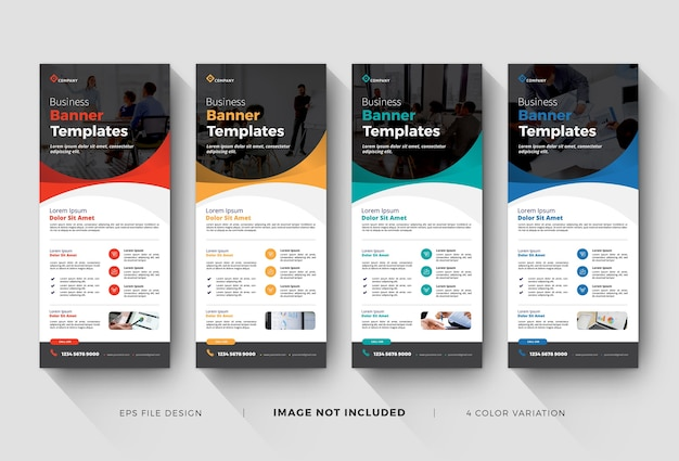 Business roll up banner or x-banner templates Premium Vector