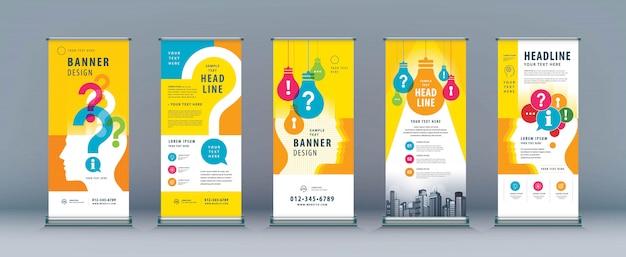 Бизнес roll up set. шаблон баннера с лампочкой и вопросительным знаком