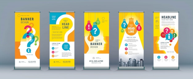 Business roll up set. banner template with light bulb and question mark