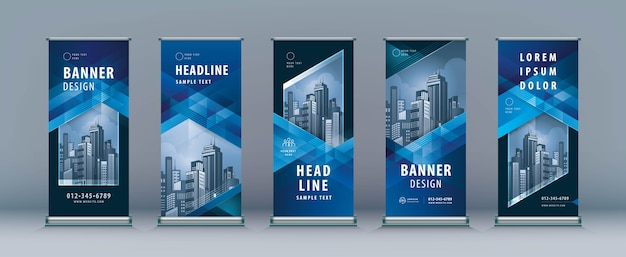Business roll up set. standee . banner template, abstract blue geometric triangle background.