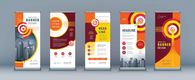 Business roll up set. standee . banner template, arrow and target
