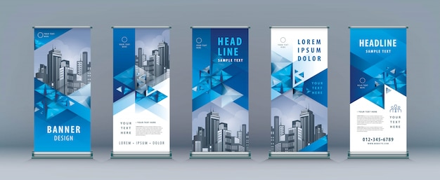 Business roll up set, standee banner template, geometric triangle