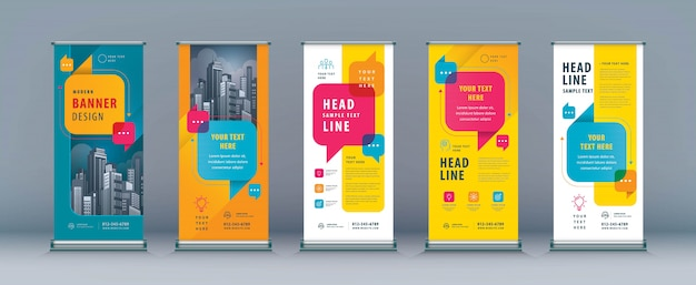Business roll up set, standee banner template, speech bubbles vector