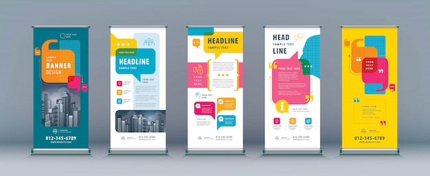 Business roll up set, standee banner template, speech bubbles vector Premium Vector