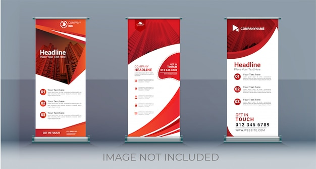 Business roll up set standee banner template