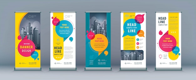 Business roll up set, standee banner template