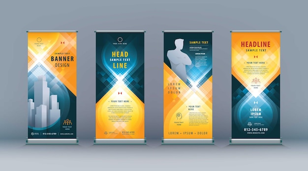 Business roll up set standee design banner template abstract black and yellow geometric infinity