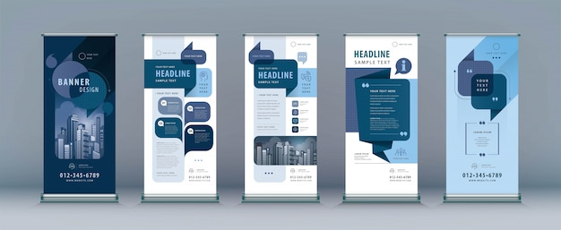 Business roll up set, standee design. template