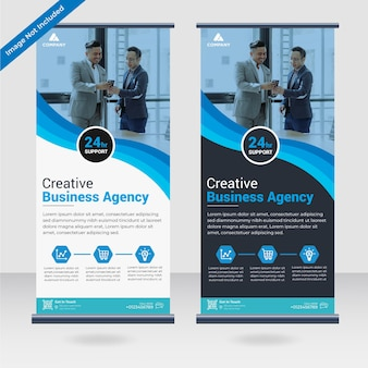 Business roll up standee banner design template