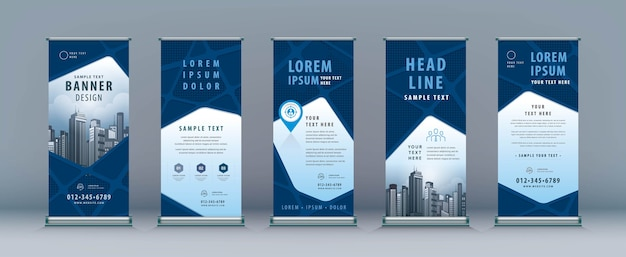 Business roll up. standee design. banner template, abstract geometric road map, j-flag stand display