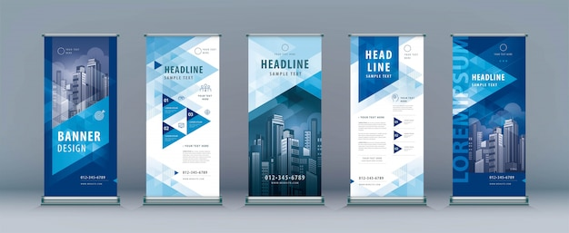 Business roll up template set. standee design, abstract geometric triangle