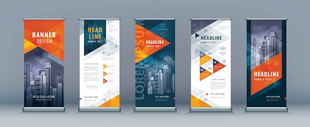 Business roll up template set. standee design, geometric triangle