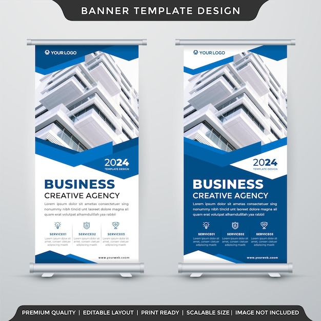 Дизайн шаблона отображения бизнес-баннера с абстрактным макетом и современным стилем