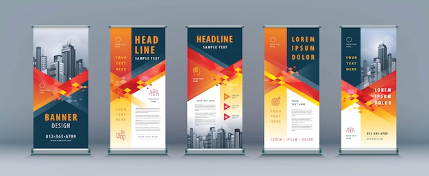 Business rollup set. standee design. xbanner template, abstract geometric diamond