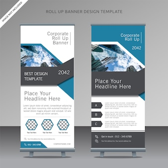 Business rollup xbanner design template, organized layer