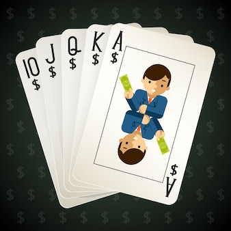 Business royal flush playing cards. street and combination and poker.
