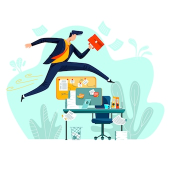 Business - running overcoming obstacles, concept vector cartoon illustration.