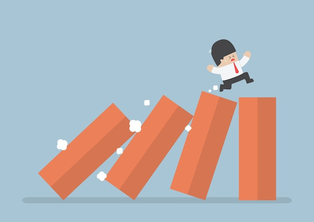 Business running on toppling domino