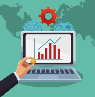 Business sales profits statistics in laptop