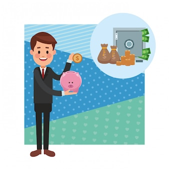 Business saving money cartoon
