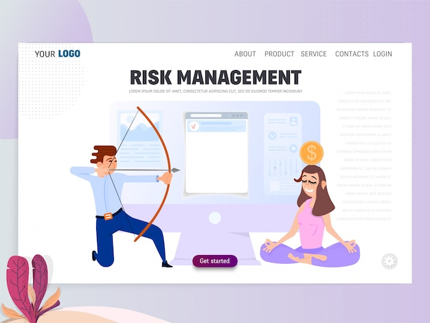 Business scene with tiny people, risk management concept.