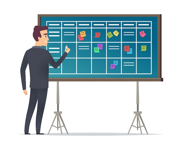 Business schedule board. businessman standing near checklist and planning teams work plans calendar management  concept