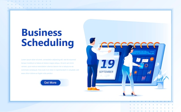 Business schedule flat landing page template of homepage