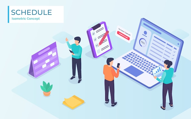 Business schedule project management team with app and notes in modern isometric flat style -