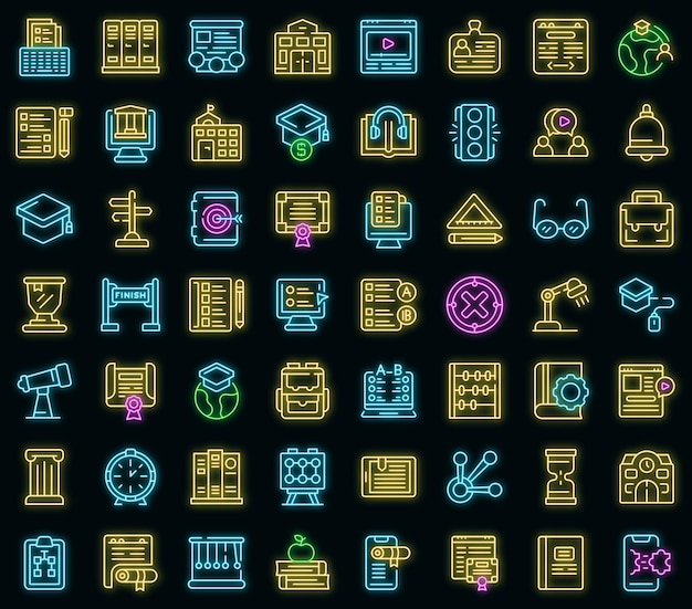Business school icons set. outline set of business school vector icons neon color on black
