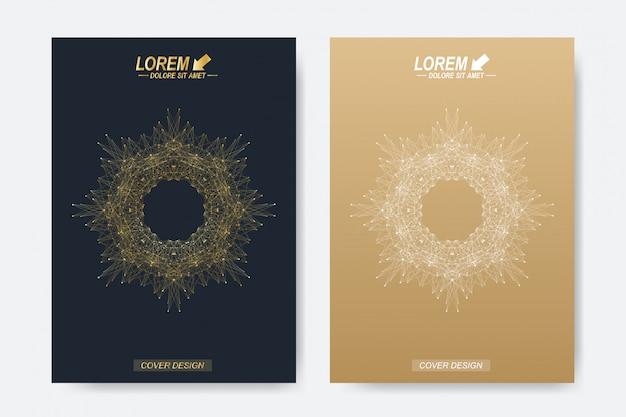 ビジネス、科学、医学、技術のデザイン本のレイアウト。黄金のマンダラと抽象的なプレゼンテーション