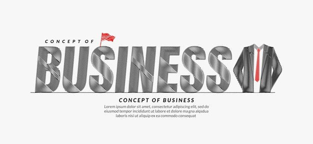 Business scribble text design with suit background business lettering typography concept