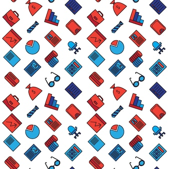 Business seamless pattern. office and document symbols.
