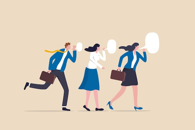 ビジネスシークレット、企業コミュニケーションまたはバイラル広告、噂の拡散または同僚のゴシップ機密情報の概念、ビジネスマンの同僚がチームメンバーにゴシップシークレットをささやきます。
