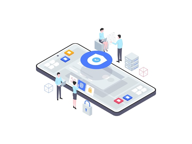 ビジネスセキュリティ等角図。モバイルアプリ、ウェブサイト、バナー、図、インフォグラフィック、その他のグラフィックアセットに適しています。