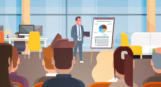 Business seminar businessman leading presentation or report, training in front of businesspeople gro