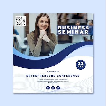 Business seminar square flyer