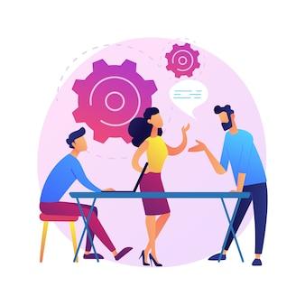 비즈니스 세미나. 직원 교육 및 개발. 상담, 코칭, 멘토링. 성공적인 사업가의 보고서를 듣고 만화 캐릭터.