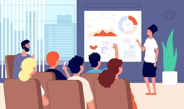 Бизнес-семинар. успех презентации конференции спикера женщины