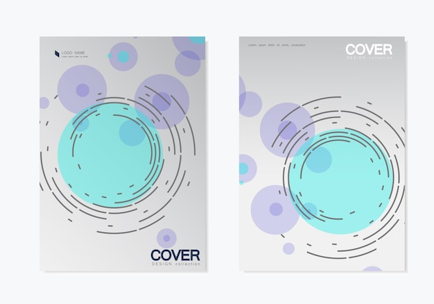 Business  set. brochure template cover  with abstract twirl circle